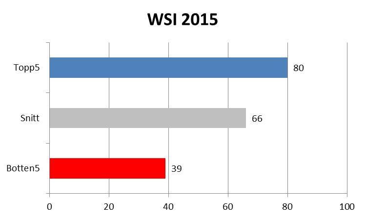 Bild över Web Service Index för 2015. Topp 5 är 80 procent nöjda besökare, snittet är 66 och de fem med lägst index har ett snitt på 39 procent.